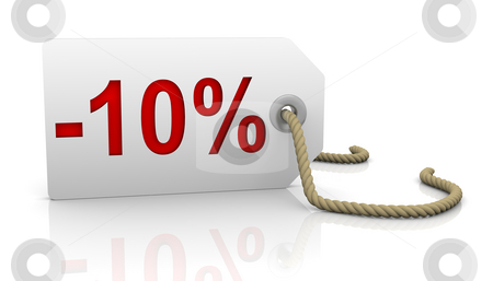 Ten percent discount stock photo, White tag with ten percent discount red lettering by Nuno Andre