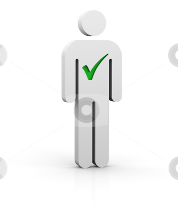 Selected man stock photo, Man with green tick symbol in white background by Nuno Andre