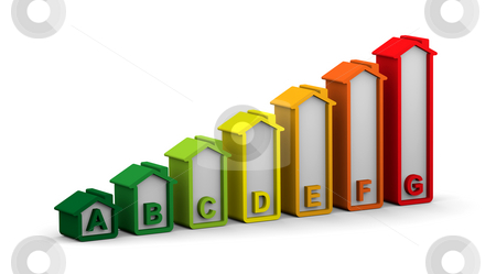 Buildings Energy Performance Scale stock photo, Energy performance scale applied to building assessment by Nuno Andre