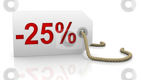 Twenty five percent discount stock photo, White tag with twenty five percent discount red lettering by Nuno Andre
