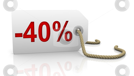 Forty percent discount stock photo, White tag with forty percent discount red lettering by Nuno Andre