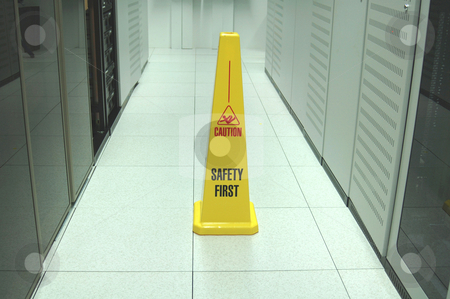 Safety First stock photo, Safety zone marker in a computer data center aisle by Lee Torrens