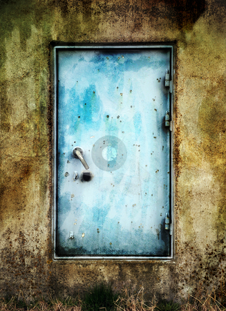Bright Blue Door stock photo, Steel door and concrete wall by Tony Lott N??rnberger