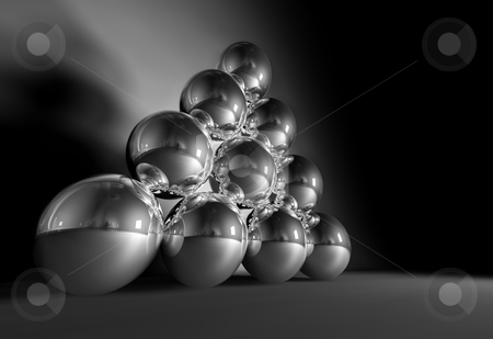 Balls On Parade stock photo, 3D Image of 10 chrome balls by Tony Lott N??rnberger