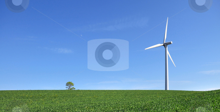 Alone in the wind stock photo, Single windturbine in crop field - wide by Tony Lott N??rnberger