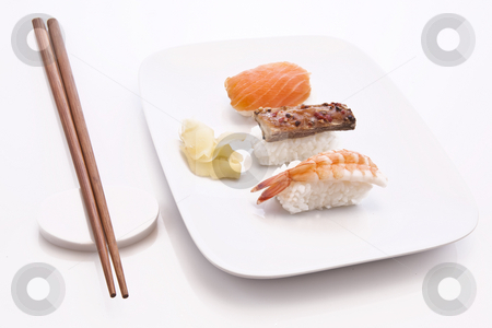 Sushi stock photo, Sushi with white plate and chopsticks by Jon Le-Bon