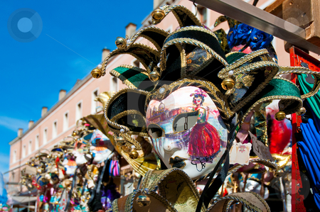 Masks shop. stock photo, Carnival masks shop at Erberia Market, near Rialto Bridge. by Anibal Trejo