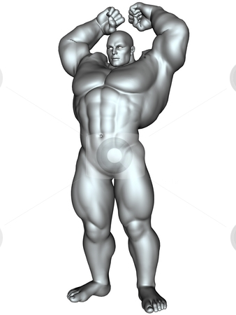 Bodybuilder in action pose stock photo, 3D rendered image of big bodybuilder on white bacground isolated by Patrik Ruzic