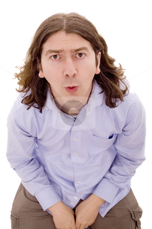 Man stock photo, Young man sited withe isolated with face expression by Marc Torrell