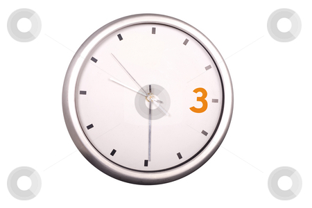Time stock photo, 3 orange metallic modern wall clock white isolated by Marc Torrell