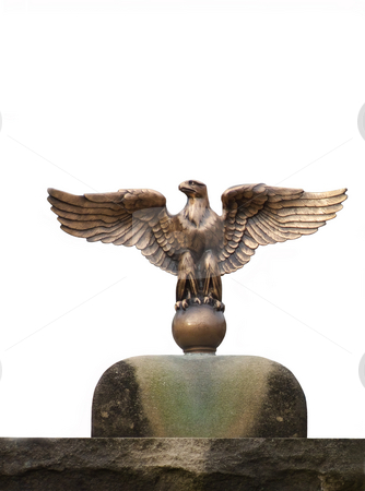 Eagle Statue stock photo, Statue of an eagle isolated against a white background. by Kathy Piper
