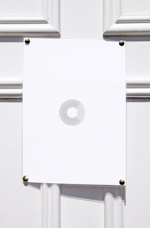 Blank white paper ready for text on a door. stock photo, Blank white paper ready for text on a door. by Stephen Rees