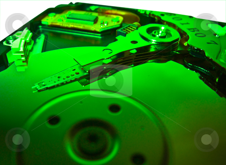 Computer Hard Drive - Green Technology stock photo, A clseup of a computer hard drive - green by Stephen Clarke
