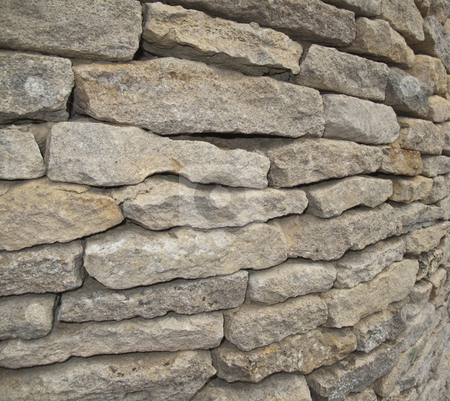 Cotswold Dry Stone Wall stock photo, A closeup of a cotswold dry stone wal.  The wall is on a corner..... by Stephen Clarke