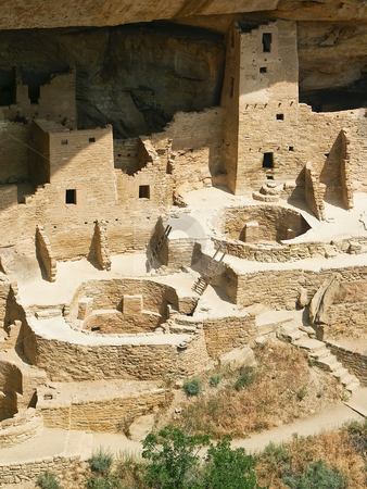 Cliff Palace, Mesa Verde National Park stock photo, A section of the massive Cliff Palace abandoned by the Anaszi Culture seven centuries ago at Mesa Verde in southwest Colorado. by Kenneth Keifer