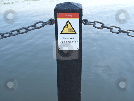 Warning-Beware Deep Water Sign stock photo, A Sign that states