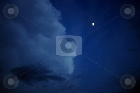 Half moon stock photo, Half moon glows on the face of the cloud by Charles Bacon jr