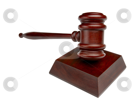 Courtroom gavel shot head on stock photo, Wooden gavel shot on white background by James Barber