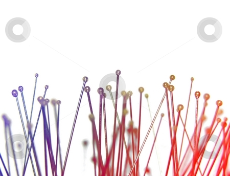 Needles stock photo, A number of needles in blue and red light by Robert Biedermann