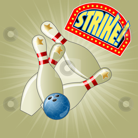 Bowling strike  stock vector clipart, Success!!! by Jaka Verbic Miklic