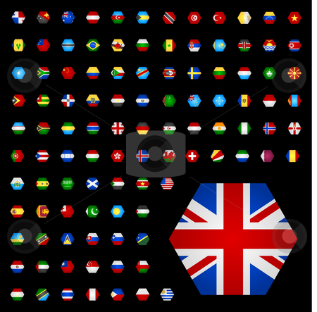 105 world flags stock vector clipart, Hexagon shaped flags with a subtile gradient by Jaka Verbic Miklic
