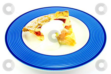 Pie and Cream stock photo, Slice of apple and strawberry pie with cream on a blue plate with a white background by Keith Wilson