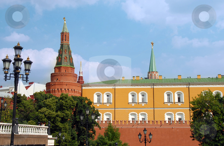 The Kremlin wall with Arsenal tower stock photo, The Kremlin wall with Arsenal tower on Red Square in Moscow, Russia by Julija Sapic