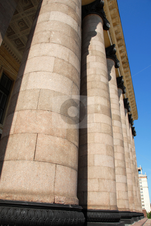 Architecture details - columns and ceiling stock photo, Stone columns of Lomonosov university in Moscow, Russia by Julija Sapic