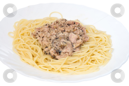 Spaghetti with tuna 2 stock photo, Italian dish of spaghetti with tuna and origanum on white background by ANTONIO SCARPI