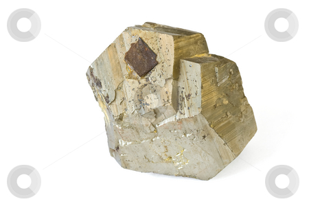 Pyrite stock photo, Pyrite mineral isolated on white background by ANTONIO SCARPI