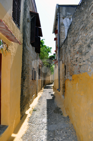 Narrow street in the medieval town of Rhodes. stock photo, Travel Europe: Narrow street in the mediaval town of Rhodes. Greece. by Fernando Barozza