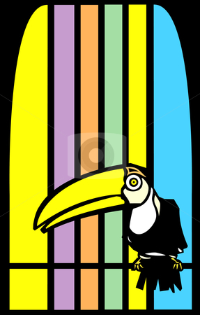 Toucans and Stripes stock vector clipart, Tropical toucan bird with stripes in background. by Jeffrey Thompson