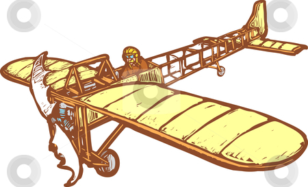 Bleriot  stock vector clipart, Early 20th century Bleriot airplane in flight. by Jeffrey Thompson