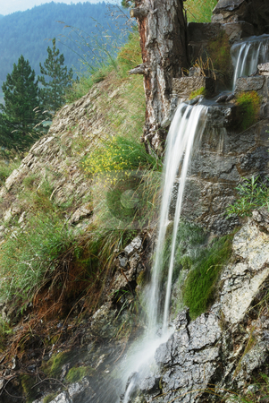 Waterfall stock photo, Creek waterfall surrounded by rocks and trees. by Ivan Paunovic