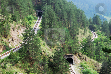 Railroad tunnels stock photo, Railroad tunnels in tourist resort Mokra Gora in Serbia. by Ivan Paunovic