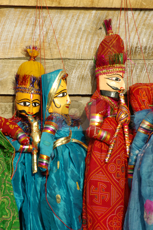 Puppets 3, Jaipur, India stock photo, Close up of puppets representing Indian individuals on sale by the roadside, Jaipur, India by Steeve Dubois