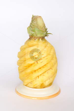 Pineapple 0001 stock photo, Whole peeled pineapple, a tropical fruit by Steeve Dubois