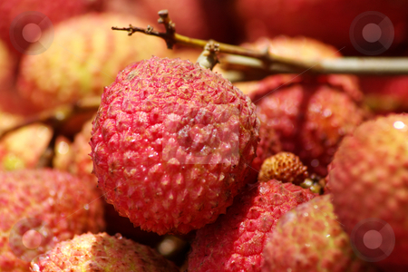 Litchi chinensis 005 stock photo, Close up of red litchis by Steeve Dubois
