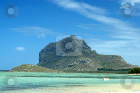 Le Morne Brabant Mountain, Mauritius stock photo, Le Morne Brabant Mountain, a World Heritage site, viewed from La Prairie beach, Mauritius by Steeve Dubois