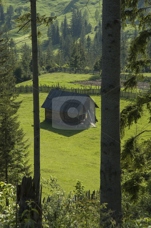 Abandoned farmhouse. stock photo, Small farmhose abandoned at one of the many valleys crossed by the Route 7 at the Carpathians, Romania. by Anibal Trejo