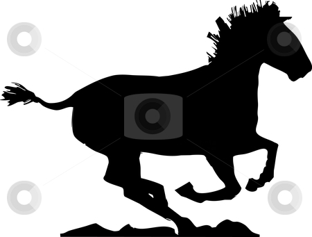 Galloping Horse Shadow stock vector clipart, A Mongolian horse gallops to the right of the image. by Jeffrey Thompson