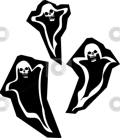 Three Skull Ghosts stock vector clipart, Three Halloween phantom ghosts with skull heads. by Jeffrey Thompson