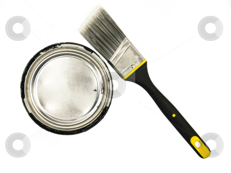 Paint and Brush stock photo, Can of Paint with brush on a white background by John Teeter