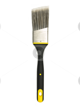 Single Paint Brush stock photo, Single paint brush on a white background by John Teeter