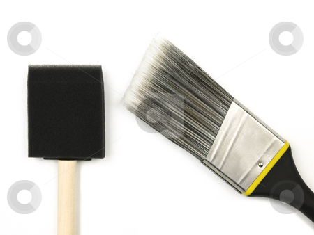 Paint brushes stock photo, Two Paint Brushes on a white background by John Teeter