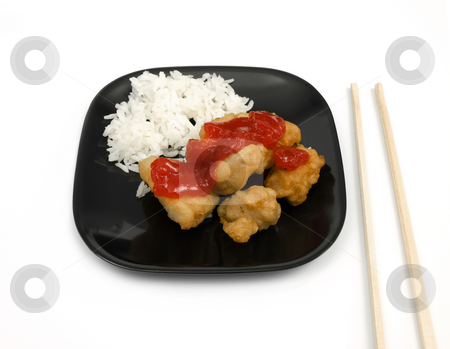 Sweet and Sour Chicken stock photo, Sweet and Sour Chicken meal on white background by John Teeter