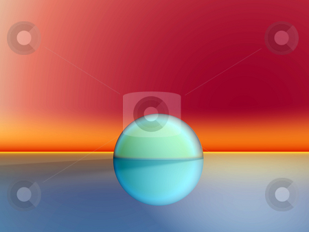 Abstract landscape stock photo, Hemisphere in abstract landscape - 3d illustration by J?