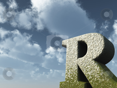 Big R stock photo, Letter R rock in front of blue sky - 3d illustration by J?