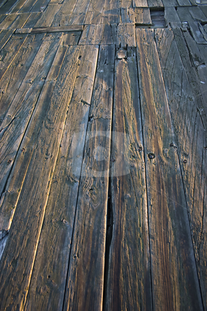 Wooden quay floor stock photo, Close up of wooden planks of a jetty/quay by Darren Pattterson