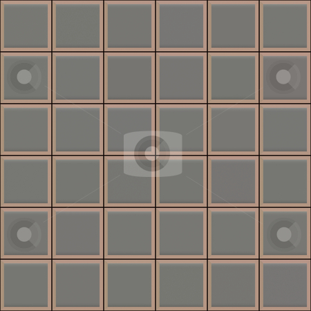 Grey square tiles pattern stock photo, Seamless 3d texture of grey tiles with brown borders and black mortar by Wino Evertz